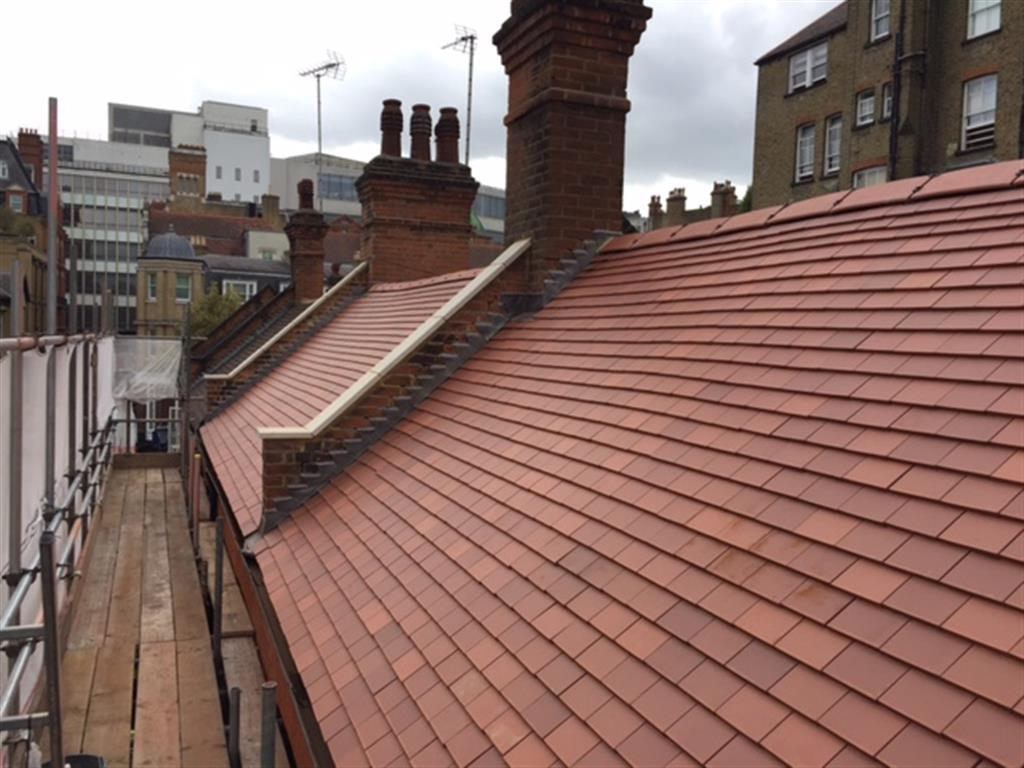 Completed tiled roof